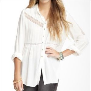 FREE PEOPLE | White Lace Insert Button Up | Sz S
